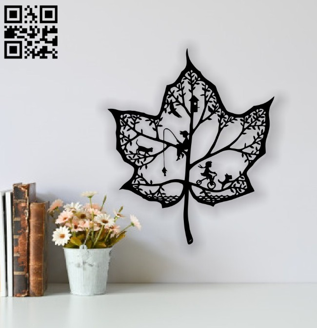 Leaf wall decor E0014259 file cdr and dxf free vector download for laser cut plasma
