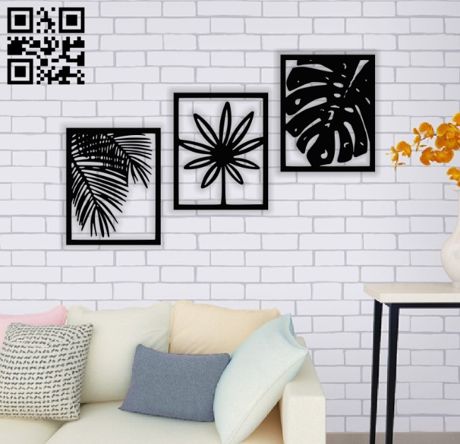 Leafs wall decor E0014089 file cdr and dxf free vector download for laser cut plasma