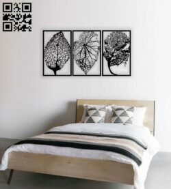 Leafs wall decor E0014318 file cdr and dxf free vector download for laser cut plasma