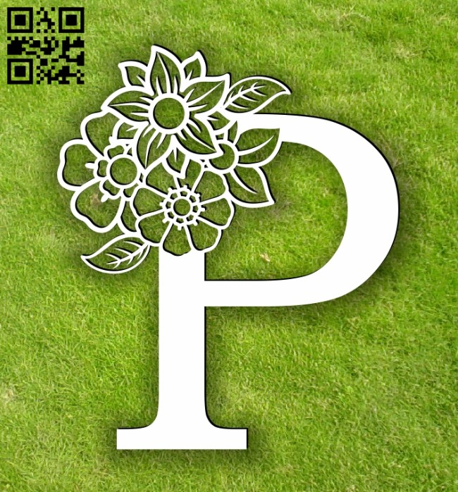 Letter P with flowers E0014102 file cdr and dxf free vector download for laser cut