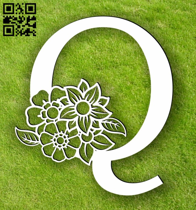 Letter Q with flowers E0014103 file cdr and dxf free vector download for laser cut