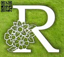 Letter R with flowers E0014104 file cdr and dxf free vector download for laser cut