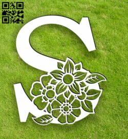 Letter S with flowers E0014105 file cdr and dxf free vector download for laser cut