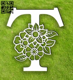 Letter T with flowers E0014106 file cdr and dxf free vector download for laser cut