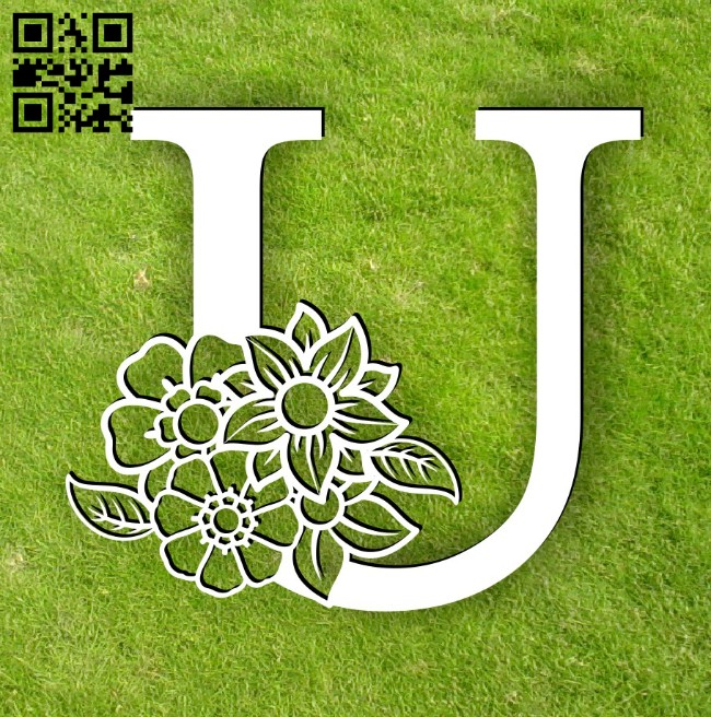 Letter U with flower E0014300 file cdr and dxf free vector download for laser cut plasma