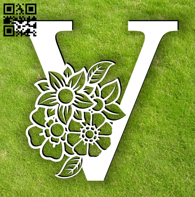 Letter V with flower E0014301 file cdr and dxf free vector download for laser cut