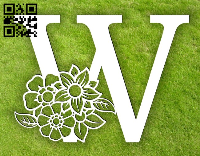 Letter W with flower E0014302 file cdr and dxf free vector download for laser cut