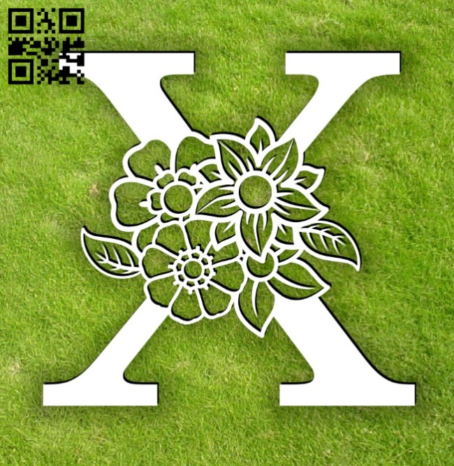Letter X with flower E0014303 file cdr and dxf free vector download for laser cut