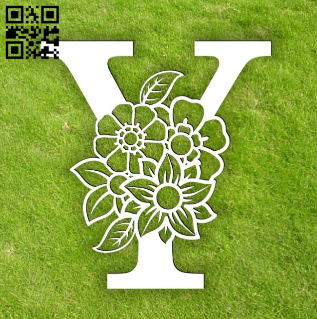 Letter Y with flower E0014304 file cdr and dxf free vector download for laser cut