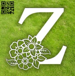Letter Z with flower E0014305 file cdr and dxf free vector download for laser cut