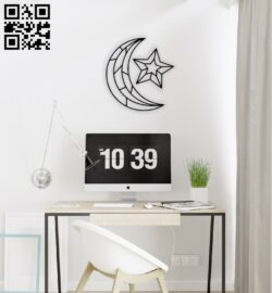 Moon with star wall decor  E0014378 file cdr and dxf free vector download for laser cut plasma