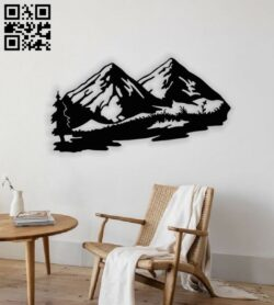 Mountain wall decor E0014153 file cdr and dxf free vector download for laser cut plasma