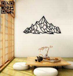 Mountain wall decor E0014285 cdr and dxf files free vector download laser cut plasma
