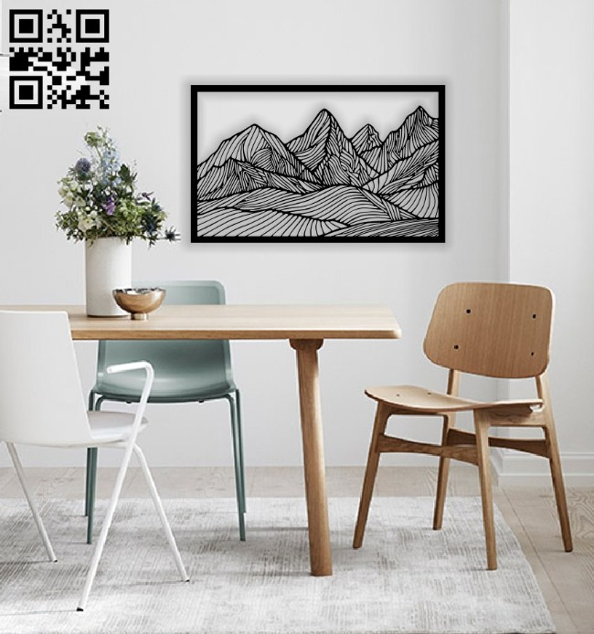 Mountain wall decor E0014370 file cdr and dxf free vector download for laser cut plasma