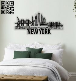 New York city wall decor E0014256 file cdr and dxf free vector download for laser cut plasma