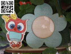 Owl photo frame E0014410 file cdr and dxf free vector download for laser cut