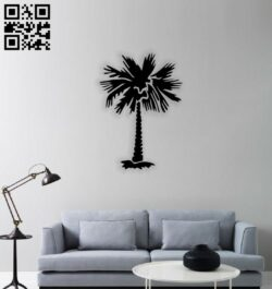 Palm tree E0014435 file cdr and dxf free vector download for laser cut plasma