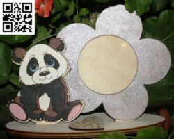 Panda photo frame E0014409 file cdr and dxf free vector download for laser cut