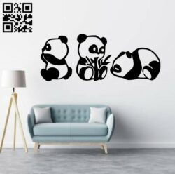 Panda wall decor E0014349 file cdr and dxf free vector download for laser cut plasma