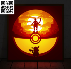 Pokemom light box E0014394 file cdr and dxf free vector download for laser cut