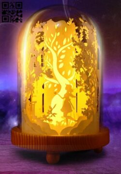 Princess in glass box light box E0014395 file cdr and dxf free vector download for laser cut