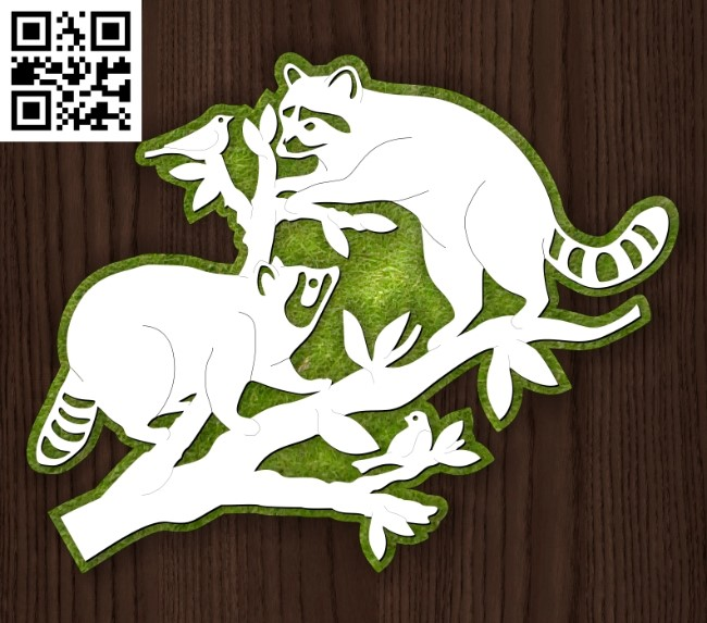 Raccoon E0014148 file cdr and dxf free vector download for laser cut