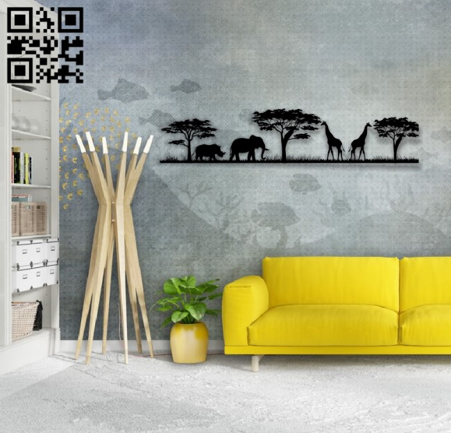 Savanna animals E0014111 file cdr and dxf free vector download for laser cut plasma