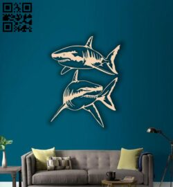 Sharks wall decor E0014195 file cdr and dxf free vector download for laser cut plasma