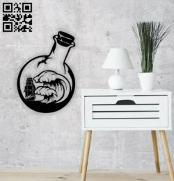 Ship in bottle wall decor E0014402 file cdr and dxf free vector download for laser cut plasma