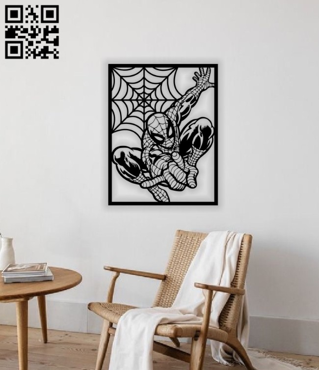 Spider man wall decor E0014216 file cdr and dxf free vector download for laser cut plasma