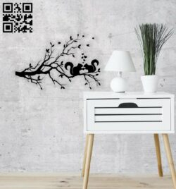 Squirrel on branch wall decor E0014340 file cdr and dxf free vector download for laser cut plasma