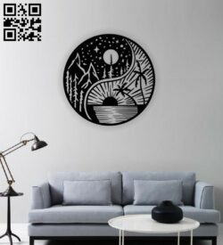 Sun and moon yin yang E0014233 file cdr and dxf free vector download for laser cut plasma
