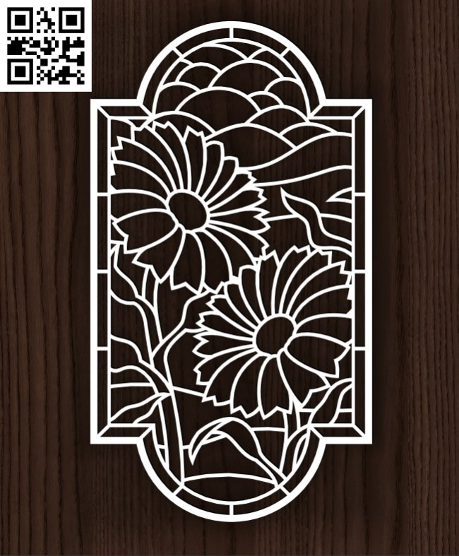 Sunflower panel E0014171 file cdr and dxf free vector download for laser cut plasma