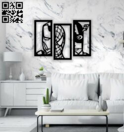 Super hero wall decor E0014200 file cdr and dxf free vector download for laser cut plasma