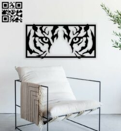 Tiger Eyes wall decor E0014379 file cdr and dxf free vector download for laser cut plasma
