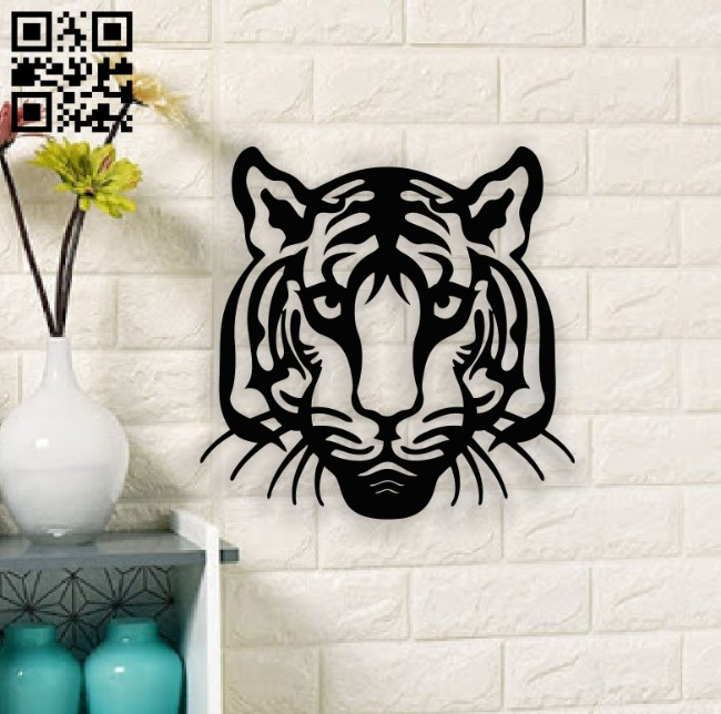 Tiger head E0014136 file cdr and dxf free vector download for laser cut plasma