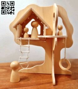Tree house E0014174 file cdr and dxf free vector download for laser cut