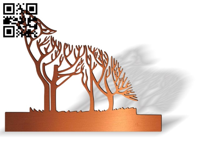 Tree wolf E0014109 file cdr and dxf free vector download for laser cut plasma