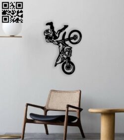 Two stroke trick motocross E0014242 file cdr and dxf free vector download for laser cut plasma