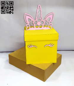 Unicorn box E0014253 file cdr and dxf free vector download for laser cut