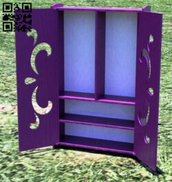 Wardrobe for barbie E0014075 file cdr and dxf free vector download for laser cut