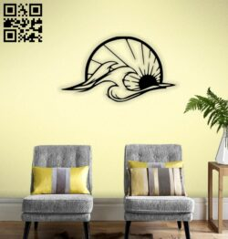 Wave and sun wall decor E0014350 file cdr and dxf free vector download for laser cut plasma