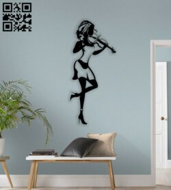 Woman with Violin wall decor E0014382 file cdr and dxf free vector download for laser cut plasma