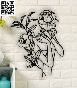 Woman with flowers E0014152 file cdr and dxf free vector download for laser cut plasma