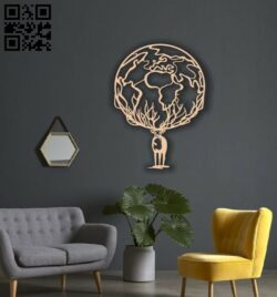 World Deer wall decor E0014215 file cdr and dxf free vector download for laser cut plasma
