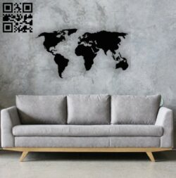 World map E0014264 file cdr and dxf free vector download for laser cut plasma