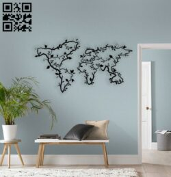 World map E0014367 file cdr and dxf free vector download for laser cut plasma