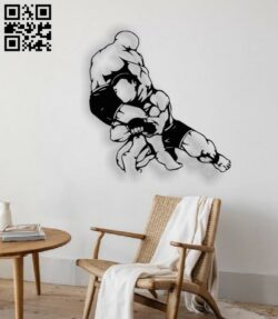 Wrestling E0014084 file cdr and dxf free vector download for laser cut plasma