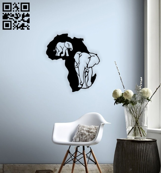 Africa Map wall decor E0014687 file cdr and dxf free vector download for laser cut plasma
