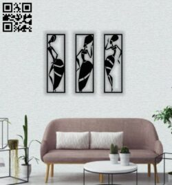African women wall decor  E0014506 file cdr and dxf free vector download for laser cut